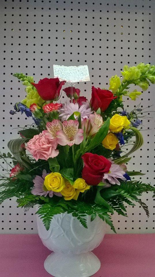 Beautiful sympathy arrangement from Wilma's Flowers in Jasper, AL