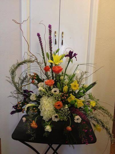 Oriental inspired funeral spray from Jocelyn's Floral in Cedar City, UT