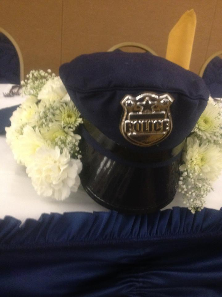 Piece for a police retirement party from Nate's Flowers in Forrestville, MD