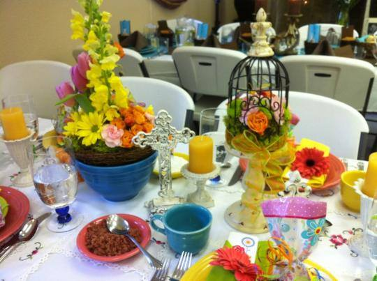 Shabby chic centerpieces from Awesome Blossom in Adin, CA