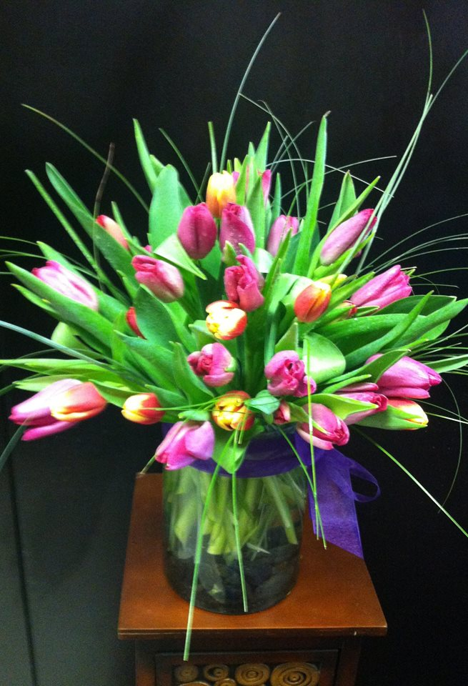 Spring tulip arrangement from Robyn at Flowers and More in Fresno, CA