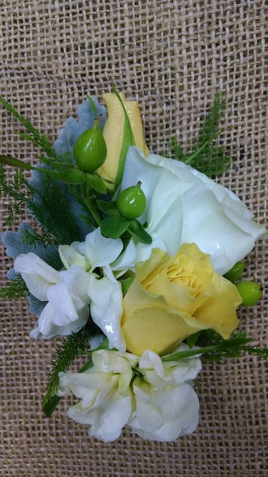 A groom's boutonniere from Mabel Flowers in Mabel, MN