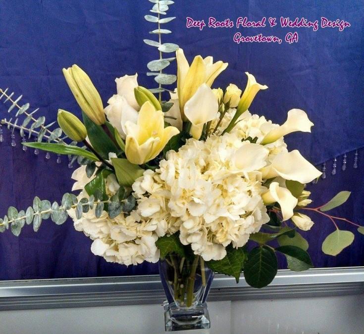 A lovely arrangement from Deep Roots Floral & Wedding Design in Grovetown, GA