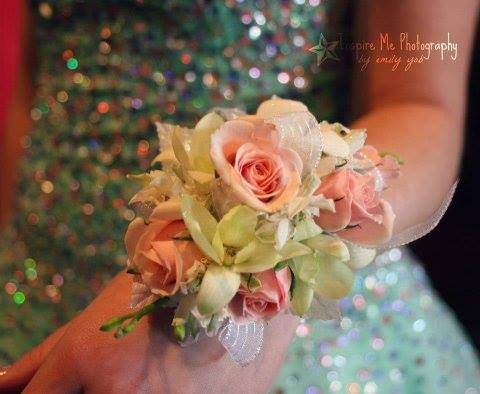 A lovely corsage from Clarabella Flowers in Clare, MI
