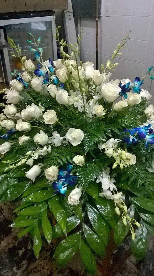Beautiful casket spray from Wilma's Flowers in Jasper, AL