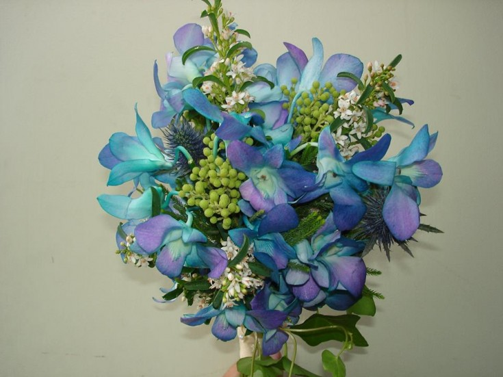 Blue wedding bouquet from The Petal Patch, Ltd. in McFarland, WI
