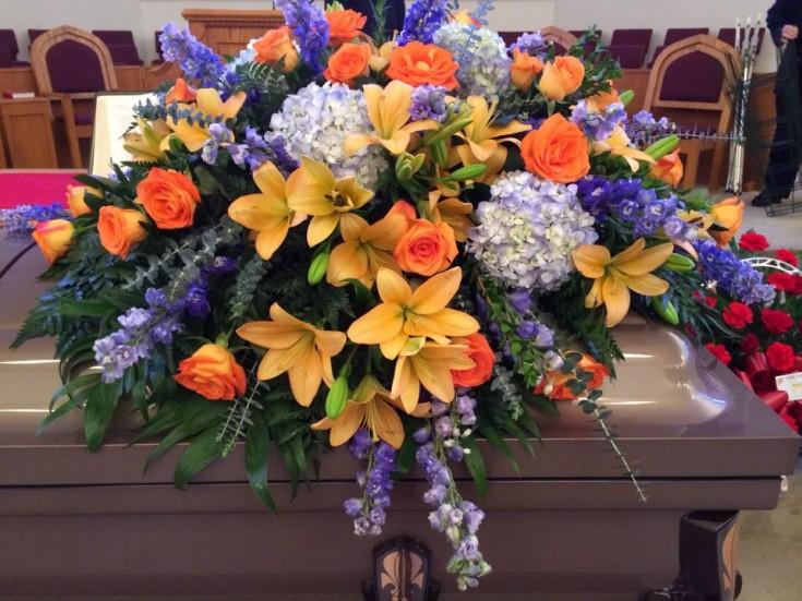 Breathtaking casket spray from Hobby Hill Florist in Sebring, FL