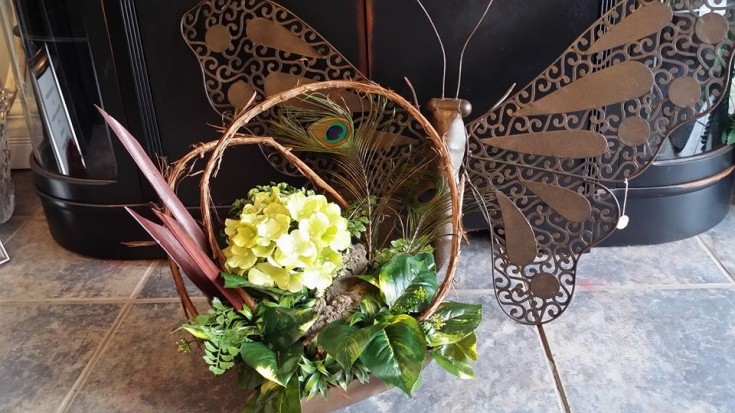 Butterfly wire art and silk hydrangea from BlueShores Flowers & Gifts in Wasaga Beach, ON
