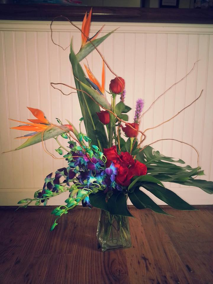 Tropical arrangement from Blue Iris Flowers in Catonsville, MD