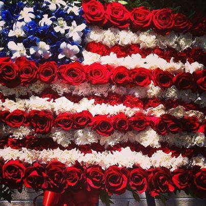 America Flag funeral spray from Robyn at Flowers and More in Fresno, CA