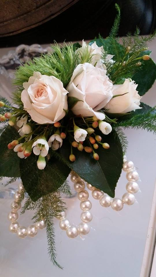 Beautiful mother-of-the-bride corsage from BlueShores Flowers & Gifts in Wasaga Beach, ON