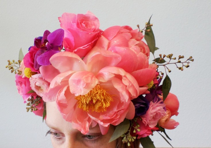 Brilliant floral headpiece from Klamath Flower Shop in Klamath Falls, OR