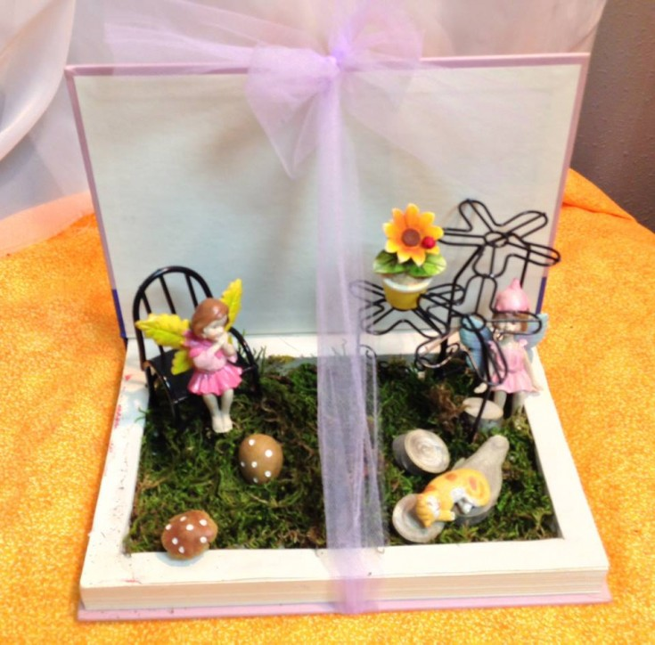 Fairy Garden made from a hollowed out book by Michele's Floral and Gifts in Copperas Cove, TX
