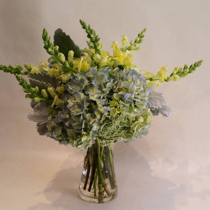 Gorgeous blue and yellow combo from Paradise Valley Florist in Scottsdale, AZ