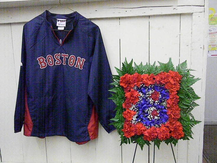 Memorial for a Red Sox fan at Cole's Flowers in Middlebury, VT