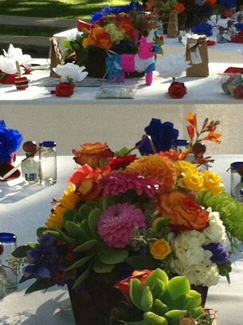 Mexican fiesta wedding centerpieces by Robyn of Flowers and More in Fresno, CA
