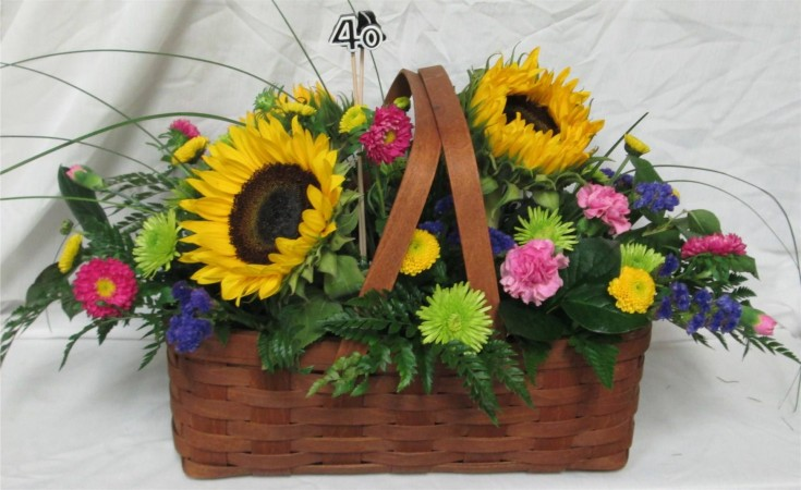 40th birthday party basket from Inspirations Floral Studio in Lock Haven, PA