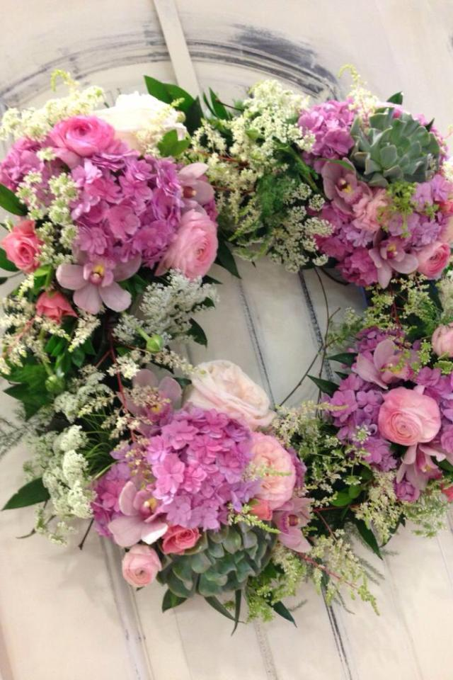 A lovely wreath from The Enchanted Florist in Edmonton, AB