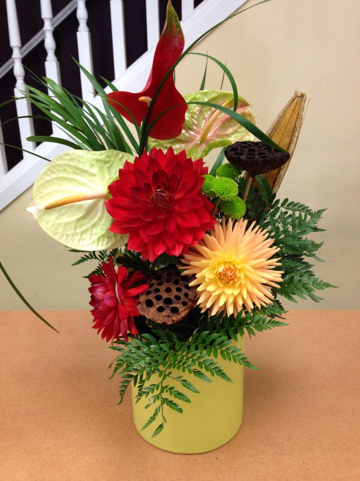 A study in dahlias and anthurium at Oak Bay Flower Shop Ltd. in Victoria, BC