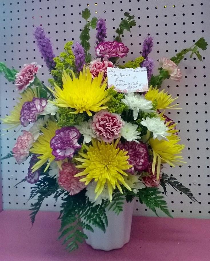 A sympathy arrangement from Wilma's Flowers in Jasper, AL