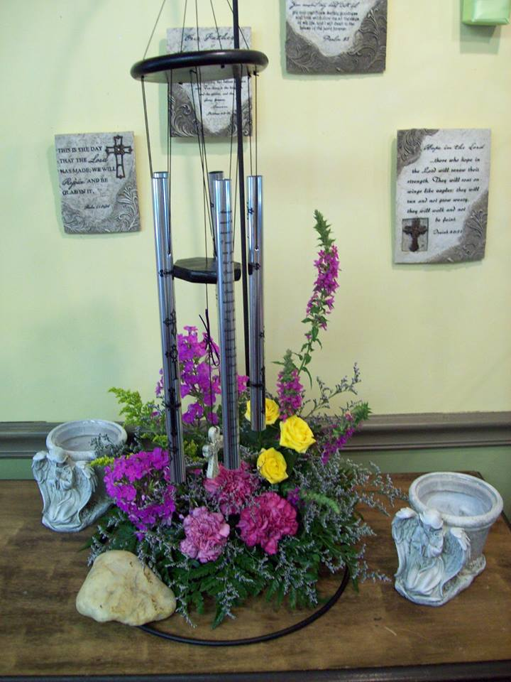 Adorable wind chime design from Com-Patt-ibles Floral Elegance in Wooster, OH
