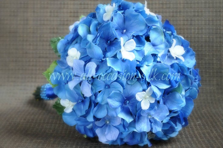 All-blue silk hydrangea bride's bouquet from All Occassion Silk Creations in Imperial, PA