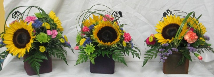 Centerpieces for the party at Inspirations Floral Studio in Lock Haven, PA