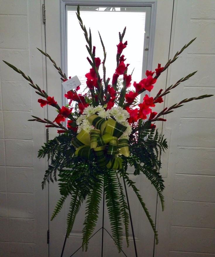 Creative standing spray from Wilma's Flowers in Jasper, AL