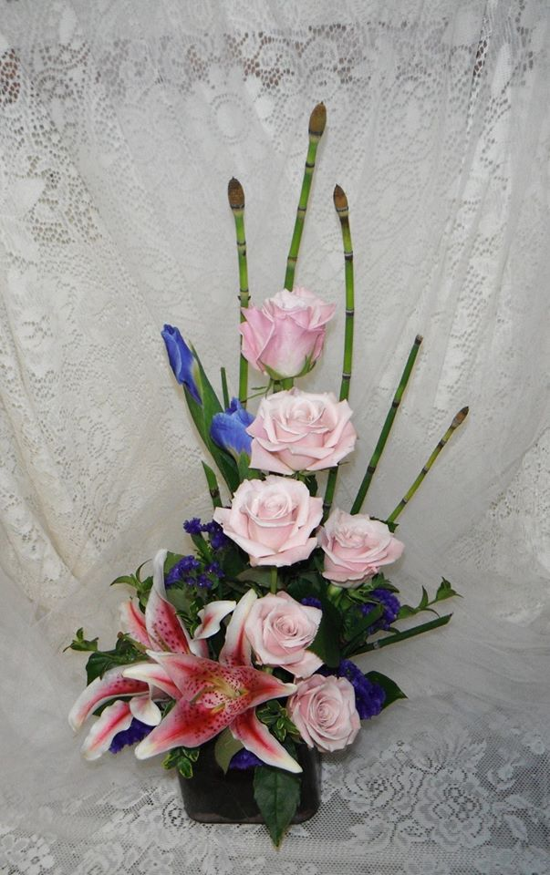 Cubed n' stacked arrangement featuring locally grown reeds at Crow River Floral and Gifts in Hutchinson, MN