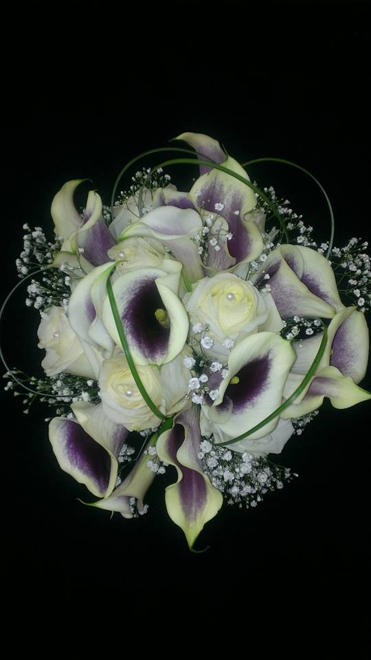 Dramatic Picasso Calla Lillies and Baby's Breath from Banda's Bouquets in Longview, WA