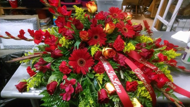 Gorgeous casket spray from Mabel Flowers in Mabel, MN