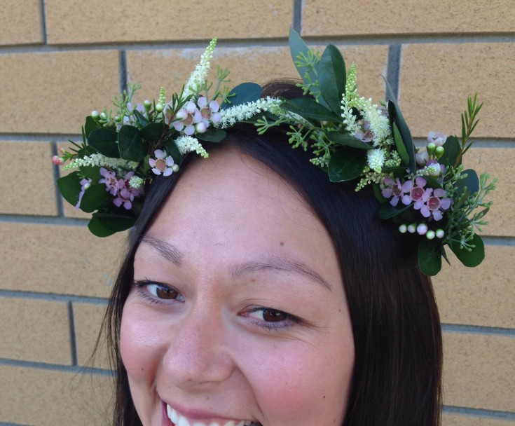 Impromptu floral crown from Petals in Thyme of Wasaga Beach, ON