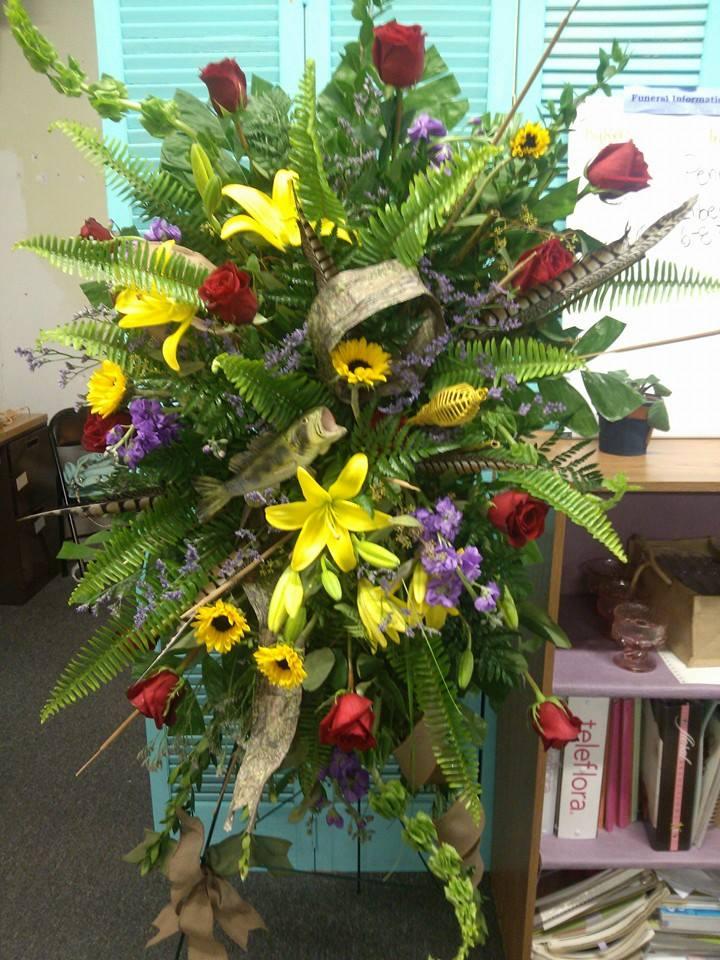 Lovely funeral spray from Oran's Flower Shop in Kingston, TN