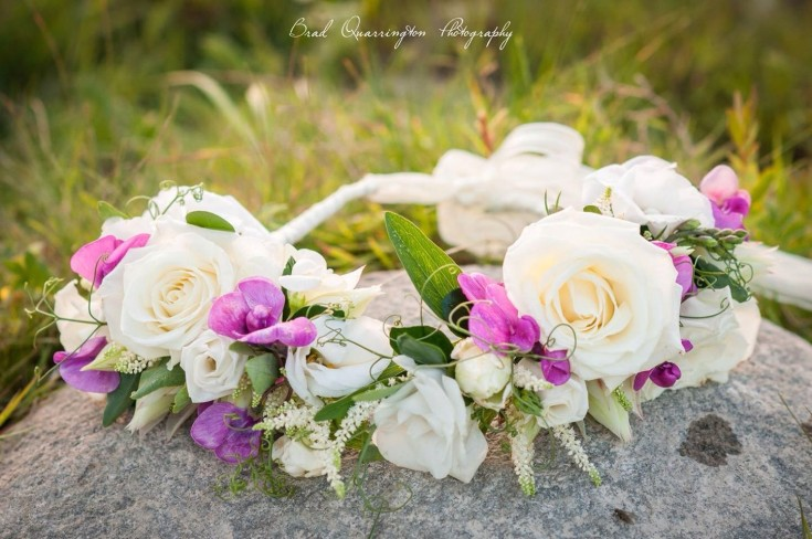 Magnificent floral crown from Petals in Thyme of Wasaga Beach, ON
