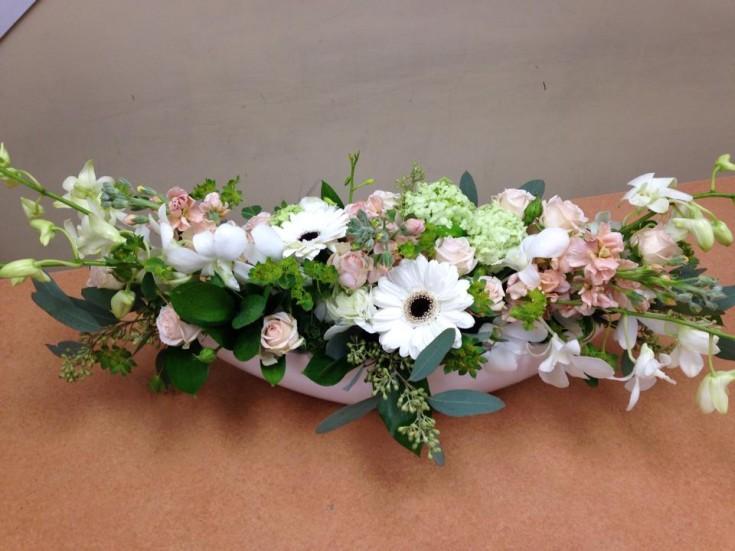 Pastel centerpiece from Oak Bay Flower Shop Ltd. in Victoria, BC
