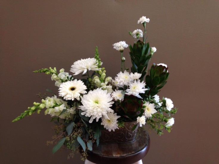 Sympathy arrangement from Bloomin' Scents in Morris, MB