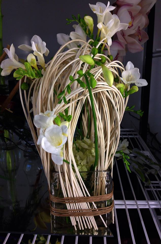 Toying with wicker and freesia at Petals in Thyme in Wasaga Beach, ON