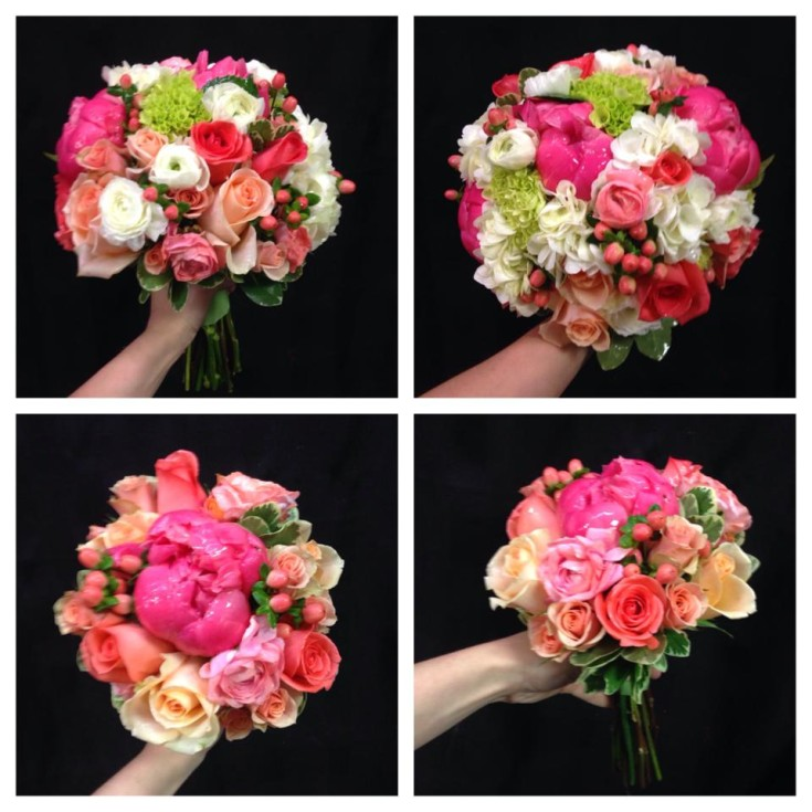 Wedding bouquets in peach, pink and coral from West End Florist in Rome, GA