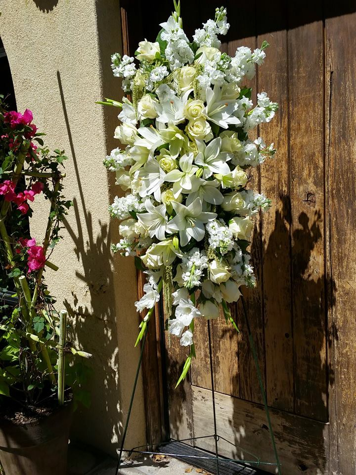 Elegant funeral spray from Paradise Valley Florist in Scottsdale, AZ
