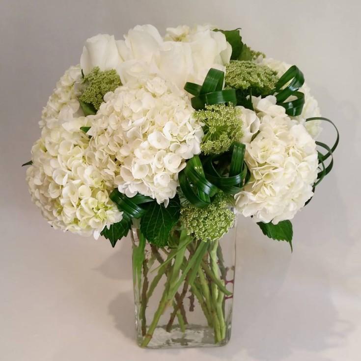 Heavenly white hydrangeas at Paradise Valley Florist in Scottsdale, AZ
