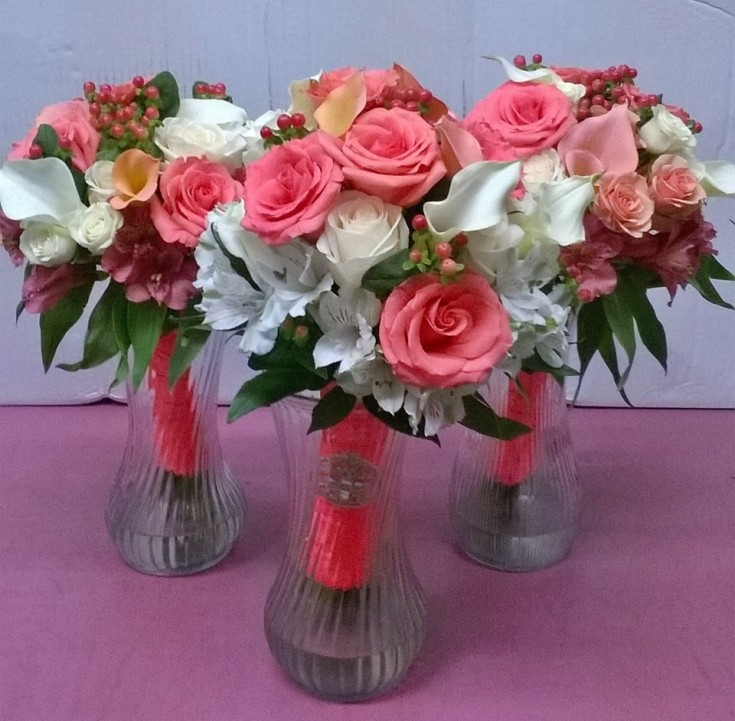 A trio of bouquets from Wilma's Flowers in Jasper, AL