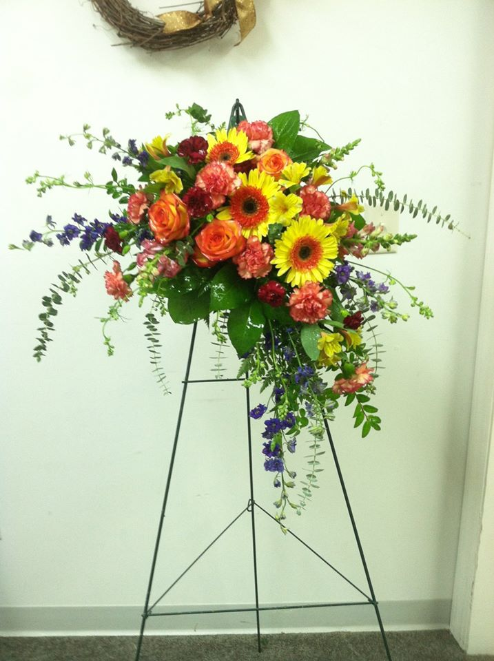 Beautiful standing spray from Works of Heart Flowers in Wilton, NH