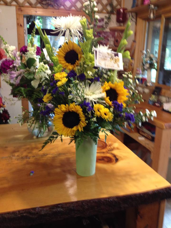 A sunflower arrangement from Sweet Briar Flower Shop in Galway, NY