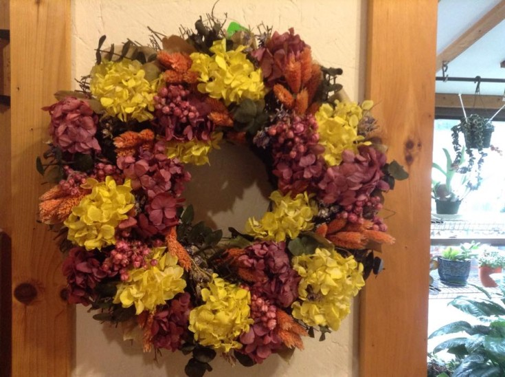 Autumn wreath from Sweet Briar Flower Shop in Galway, NY