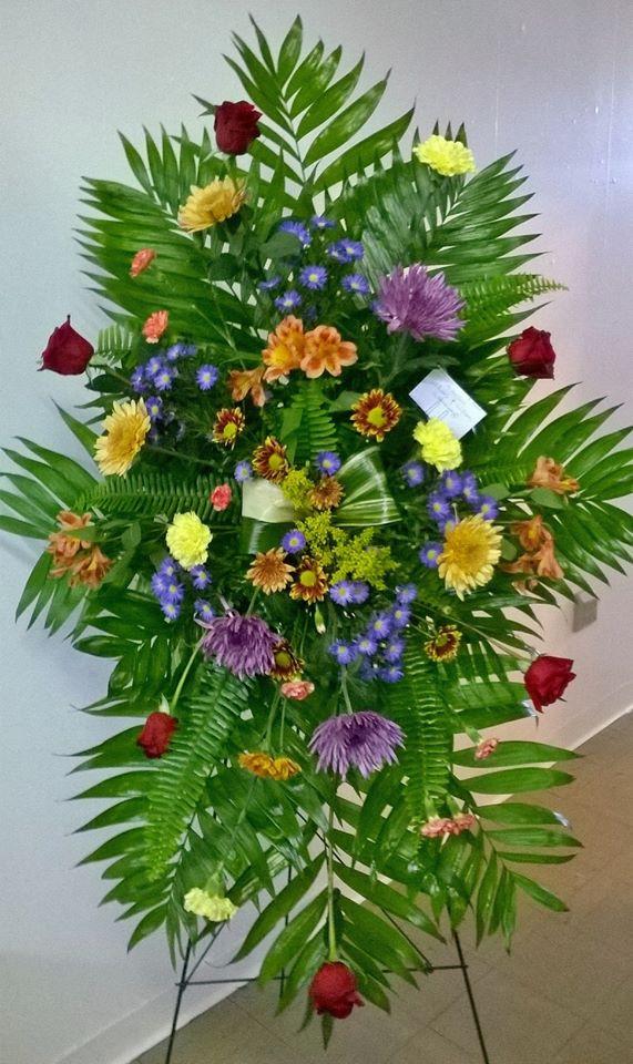 Beautiful standing spray from Wilma's Flowers in Jasper, AL
