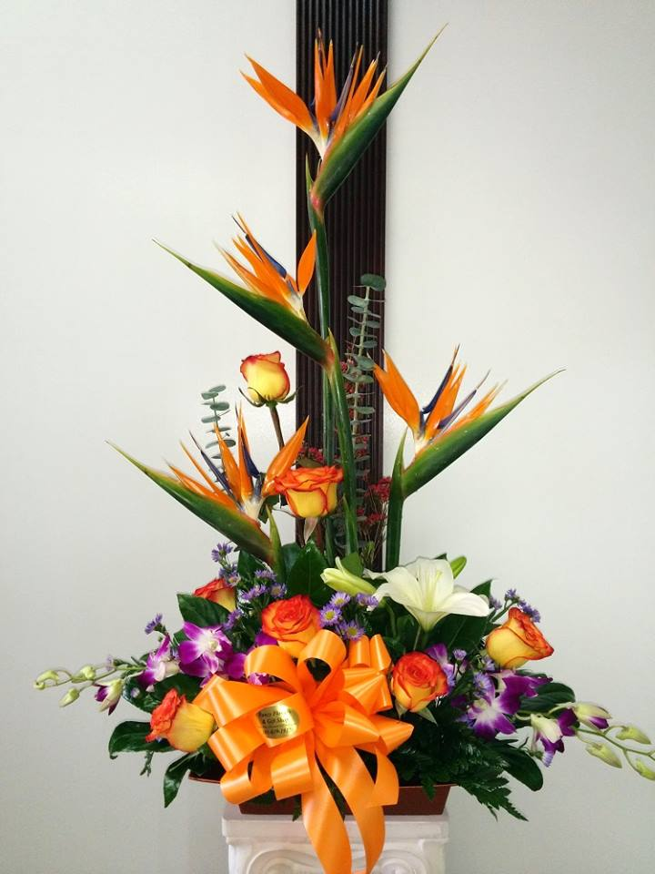 Birds of paradise, roses and orchids from Fancy Flowers & Gift Shop in Hialeah, FL
