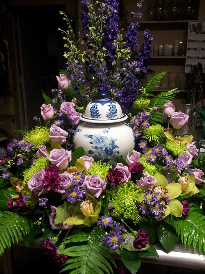 Breathtaking arrangement for a memorial service at Forget-Me-Not Flowers in Chandler, TX
