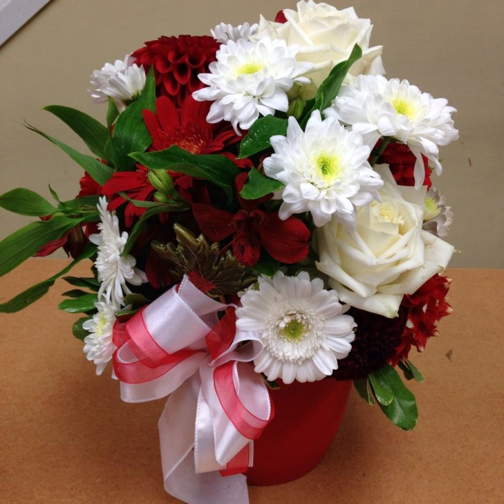 Canadian patriotism in red and white from Oak Bay Flower Shop Ltd. in Victoria, BC