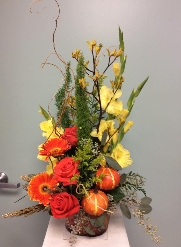 Elegant autumn design from Brenham Floral Company in Brenham, TX