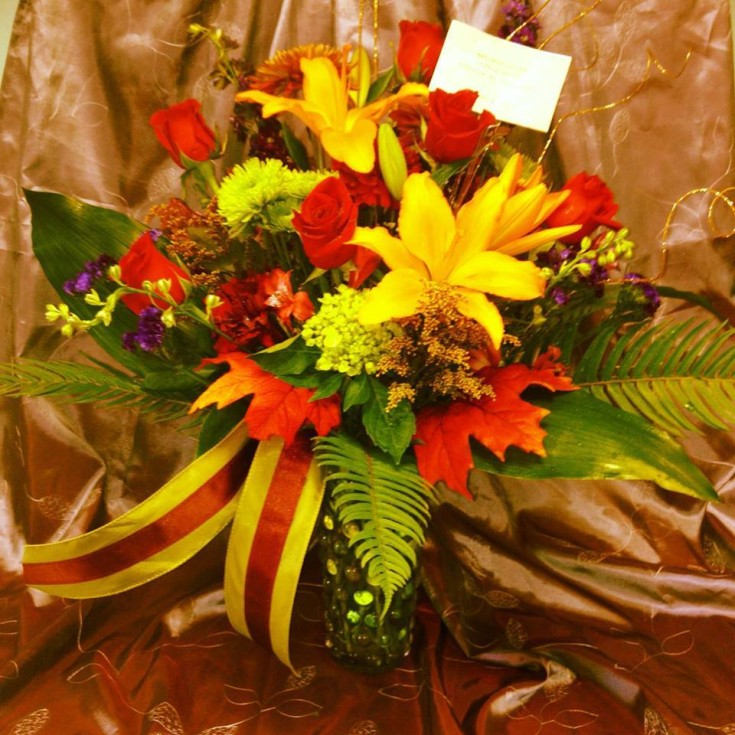Excellent autumn arrangment from BLOOM Florist in Bayville, NJ